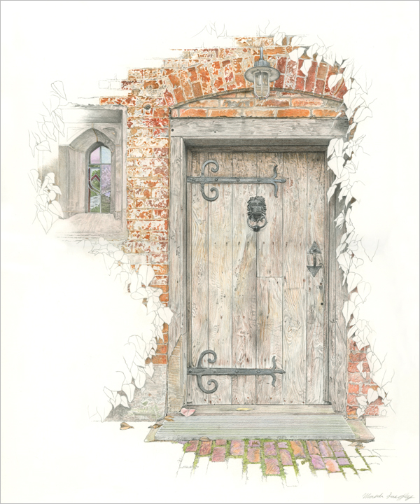 'Baddesley Clinton Door and Window' - Original graphite and colour pencil drawing by Mark Langley Fine Artist - 30 x 36 cm. As printed in BK Books 'Artist's Drawing Techniques'. With existing frame £600. Please enquire.