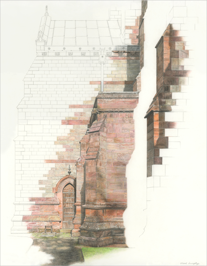 'Chapel Buttress Ascent' - Colour pencil and pencil drawing by Mark Langley Fine Artist - 42 x 54 cm. Please enquire.
