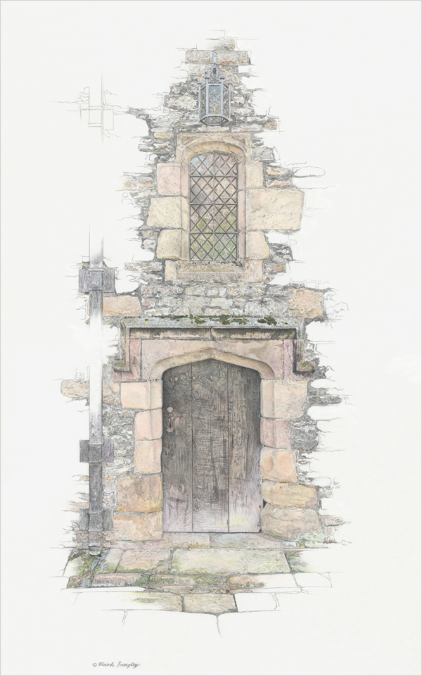 'Haddon Hall II' - Pencils4Artists Award for Best Building/Transport - Annual Open Exhibition 2017 UK Coloured Pencil Society. Original graphite and colour pencil drawing by Mark Langley Fine Artist - 30 x 48 cm. Framed £750. Please enquire.