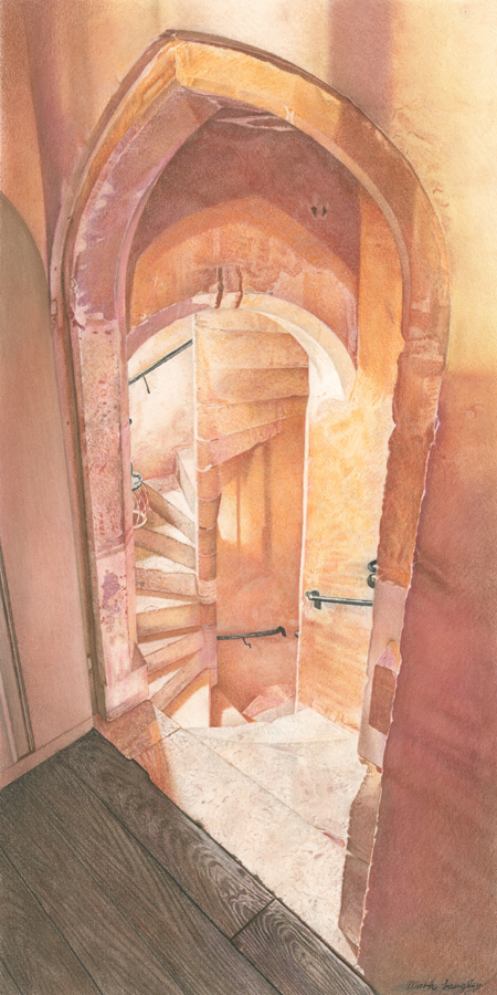 'Knole Spiral Staircase' - Chalk Pastel drawing by Mark Langley Fine Artist - 24 x 48 cm. Please enquire.