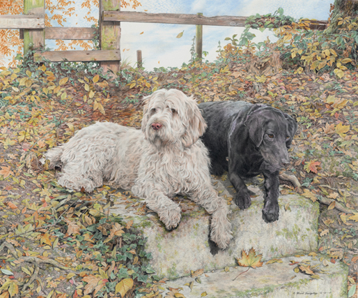 'Isabella and Bailey' - Awarded Highly Commended in the Inside the Lines online exhibition 2019 - UK Coloured Pencil Society.