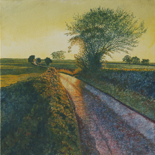 'Sandyford Lane Sunset' - One of the new oil on canvas by Mark Langley Fine Artist - 30 x 30 x 3 cm. At St. John Street Gallery and Café.