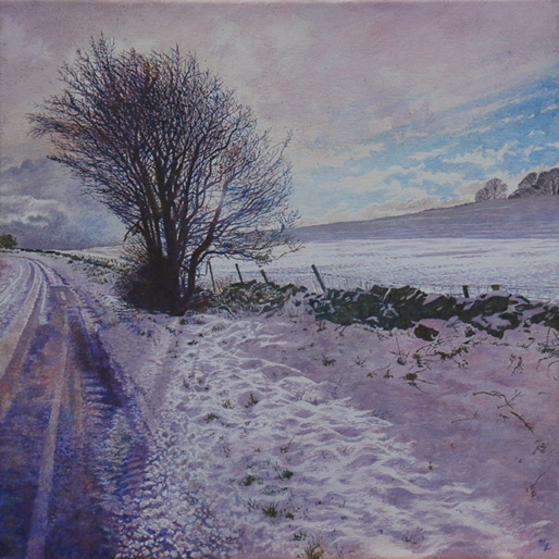 'Snow covered Lane Side at Wormhill' - One of the new oil on canvas by Mark Langley Fine Artist - 40 x 40 x 1.5 cm. At St. At the PDA Exhibition at Chatsworth in Janusry.