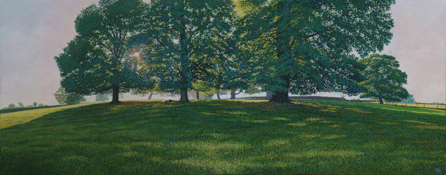'In the Shadows of Alderwasley Park' - Oil on canvas by Mark Langley Fine Artist - 100 x 40 cm. With existing frame £900. Please enquire.