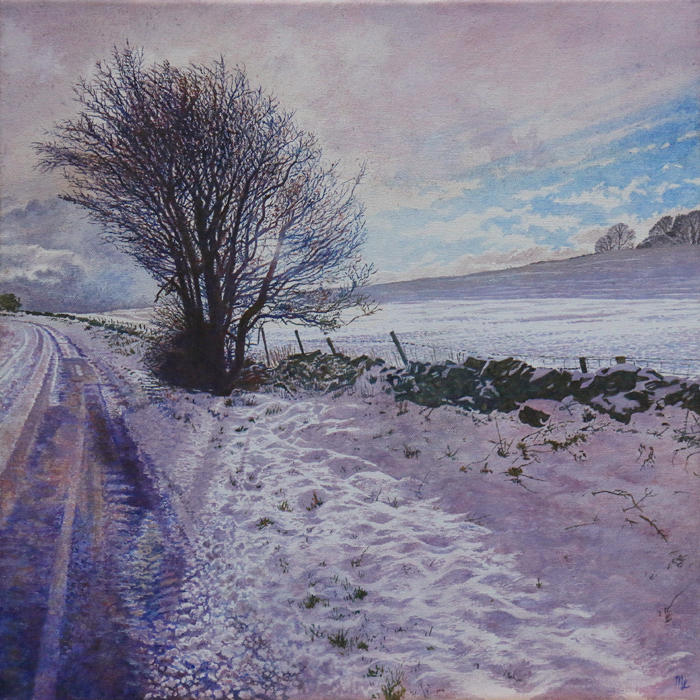 'Snow Covered Lane Side at Wormhill' - Oil on canvas not framed by Mark Langley Fine Artist - 40 x 40 cm, 1.5 cm shallow canvas edge £390. Peak District Artisans Exhibition in the Stables, Chatsworth House.