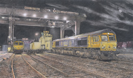 Via the Guild of Railway Artists website in 2004, GBRf found my portfolio and commissioned me to produce a portrait of their locomotives at work.