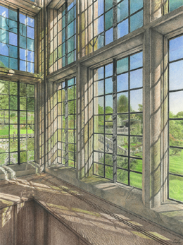 Haddon Hall Window and garden view